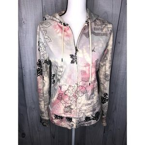 LUCKY BRAND Zip Up Print Hoodie Sweatshirt Jacket